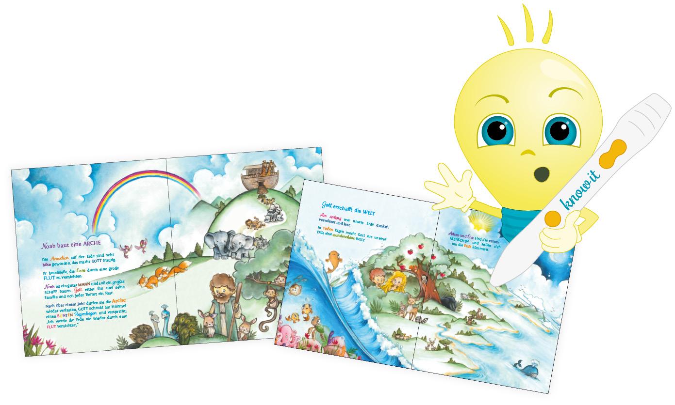 Komm mit auf eine Reise durch den ersten Teil der Bibel - das Alte Testament. Mit know it KIDS werden die Geschichten lebendig und nehmen dich mit in ein spannendes Abenteuer. Kindergerechte Illustration für die ganz kleinen, ab 2 Jahren.